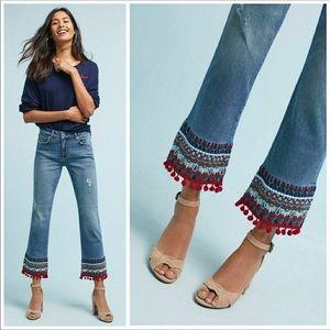 Pilcro • Cropped Embroidered Pom-Pom Jeans
